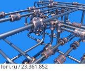 Трубопровод на синем фоне. Стоковая иллюстрация, иллюстратор Михаил Уткин / Фотобанк Лори