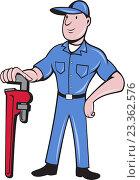 Купить «Водопроводчик с ключом», иллюстрация № 23362576 (c) Aloysius Patrimonio / Фотобанк Лори