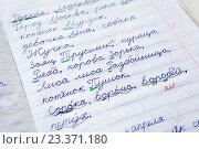 Купить «Тетрадь русскому языку с написанными словами и пометками учителя», фото № 23371180, снято 8 августа 2016 г. (c) Кекяляйнен Андрей / Фотобанк Лори
