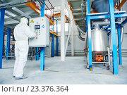 Купить «chemical industry worker at factory», фото № 23376364, снято 27 января 2016 г. (c) Дмитрий Калиновский / Фотобанк Лори