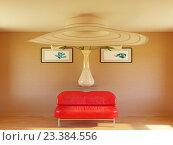 Интерьер гостиной с красным диваном. Стоковая иллюстрация, иллюстратор Денис Рубцов / Фотобанк Лори