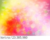Купить «Яркий цветной абстрактный фон с разноцветными бликами и сердечками», иллюстрация № 23385980 (c) Николай Полыгалин / Фотобанк Лори