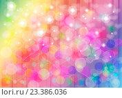 Купить «Абстрактный цветной градиентный фон с цветными бликами и сердечками», иллюстрация № 23386036 (c) Николай Полыгалин / Фотобанк Лори