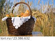 Корзина с хлебобулочными изделиями на фоне колосьев  ржи. Стоковое фото, фотограф Валерий Тырин / Фотобанк Лори