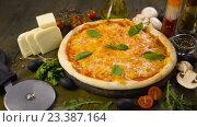 Купить «Пицца с моцареллой, сыром и базиликом», видеоролик № 23387164, снято 10 августа 2016 г. (c) Илья Шаматура / Фотобанк Лори