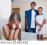 Купить «First amorousness: girl and couple of kids apart», фото № 23392632, снято 26 мая 2020 г. (c) Яков Филимонов / Фотобанк Лори