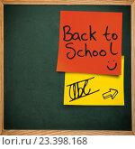 Купить «School background with stickers and slate», фото № 23398168, снято 20 сентября 2019 г. (c) Wavebreak Media / Фотобанк Лори