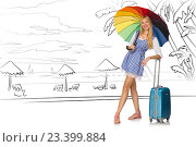 Купить «Young woman travelling tropical island in travel concept», фото № 23399884, снято 20 июля 2019 г. (c) Elnur / Фотобанк Лори