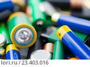 Купить «close up of alkaline batteries», фото № 23403016, снято 3 июня 2016 г. (c) Syda Productions / Фотобанк Лори