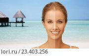 Купить «close up of beautiful woman with half face tanned», фото № 23403256, снято 16 сентября 2012 г. (c) Syda Productions / Фотобанк Лори