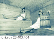 Young girls at sauna. Стоковое фото, фотограф Яков Филимонов / Фотобанк Лори