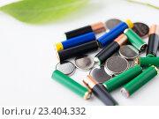 Купить «close up of green alkaline batteries», фото № 23404332, снято 3 июня 2016 г. (c) Syda Productions / Фотобанк Лори