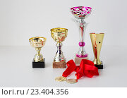 Купить «close up of sports golden cups and medals», фото № 23404356, снято 17 июня 2016 г. (c) Syda Productions / Фотобанк Лори