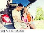 Купить «happy family with hatchback car outdoors», фото № 23405208, снято 11 августа 2015 г. (c) Syda Productions / Фотобанк Лори