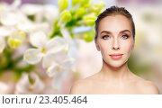 Купить «beautiful young woman face over white background», фото № 23405464, снято 14 апреля 2016 г. (c) Syda Productions / Фотобанк Лори