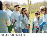 Купить «group of volunteers with trees and rake in park», фото № 23405516, снято 7 мая 2016 г. (c) Syda Productions / Фотобанк Лори