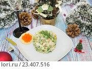 Купить «Традиционный новогодний русский салат оливье», фото № 23407516, снято 13 августа 2016 г. (c) Наталья Любина / Фотобанк Лори