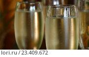 Купить «Бокалы с шампанским», видеоролик № 23409672, снято 18 августа 2016 г. (c) Александр Устич / Фотобанк Лори