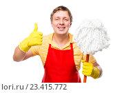 Купить «Мужчина со шваброй в руке на белом фоне», фото № 23415772, снято 6 февраля 2016 г. (c) Константин Лабунский / Фотобанк Лори