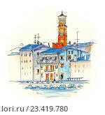 Набережная реки Адидже в Вероне, Италия. Стоковая иллюстрация, иллюстратор Коваленкова Ольга / Фотобанк Лори