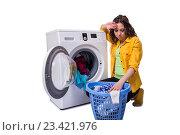 Купить «Woman tired after doing laundry isolated on white», фото № 23421976, снято 13 мая 2016 г. (c) Elnur / Фотобанк Лори