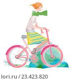 Девушка на велосипеде. Стоковая иллюстрация, иллюстратор Мария Румянцева / Фотобанк Лори