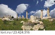 Римские развалины в Умм-Кайс, Иордания, Ближний Восток. Город на севере Иордании недалеко от места древнего города Гадары. (2016 год). Стоковое видео, видеограф Владимир Журавлев / Фотобанк Лори