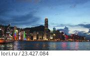 Купить «Вид на Гонконг ночью», видеоролик № 23427084, снято 22 октября 2014 г. (c) Elnur / Фотобанк Лори