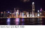 Купить «Вид на Гонконг ночью», видеоролик № 23427100, снято 24 октября 2014 г. (c) Elnur / Фотобанк Лори
