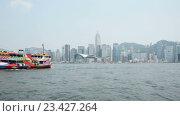 Купить «Вид на Гонконг с воды», видеоролик № 23427264, снято 25 октября 2014 г. (c) Elnur / Фотобанк Лори