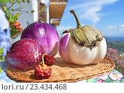 Разные сорта баклажан на плетеном подносе. Стоковое фото, фотограф Закирова Наталья / Фотобанк Лори