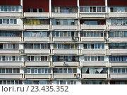 Купить «Шестнадцатиэтажный одноподъездный блочный жилой дом серии II-68-01. Сухонская улица, 5. Район Южное Медведково. Москва», эксклюзивное фото № 23435352, снято 11 августа 2016 г. (c) lana1501 / Фотобанк Лори