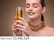 Купить «Young woman with champagne glass», фото № 23442524, снято 19 июля 2016 г. (c) Elnur / Фотобанк Лори