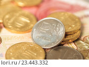 Купить «Рублевая монета», фото № 23443332, снято 29 августа 2016 г. (c) Алексей Букреев / Фотобанк Лори