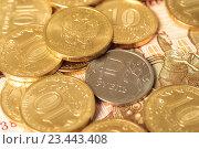 Купить «Мелкие деньги, монеты на купюре», фото № 23443408, снято 29 августа 2016 г. (c) Алексей Букреев / Фотобанк Лори