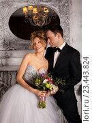 Портрет жениха и невесты, стоящих рядом друг с другом. Стоковое фото, фотограф Черепанова Татьяна / Фотобанк Лори