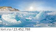 Купить «Стереографическая панорама Байкала, Листвянка», фото № 23452788, снято 14 февраля 2015 г. (c) Zakirov Aleksey / Фотобанк Лори