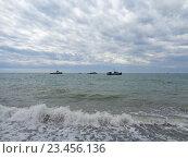 Купить «Рыболовные корабли в море, облачное небо», фото № 23456136, снято 18 мая 2016 г. (c) DiS / Фотобанк Лори