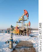 Нефтедобывающая качалка зимой. Стоковое фото, фотограф Георгий Shpade / Фотобанк Лори