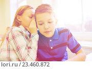Купить «smiling schoolgirl whispering to classmate ear», фото № 23460872, снято 15 ноября 2014 г. (c) Syda Productions / Фотобанк Лори