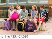Купить «group of happy elementary school students talking», фото № 23461020, снято 24 июля 2016 г. (c) Syda Productions / Фотобанк Лори