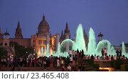 Купить «Evening view at colorful vocal fountain», видеоролик № 23465408, снято 24 июля 2016 г. (c) Яков Филимонов / Фотобанк Лори