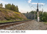 Купить «Железная дорога в горах», фото № 23465964, снято 12 августа 2016 г. (c) Николай Сачков / Фотобанк Лори