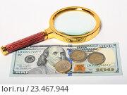 Купить «Лупа, купюра 100 долларов и монеты 1 и 2 евро на белом фоне», эксклюзивное фото № 23467944, снято 3 сентября 2016 г. (c) Яна Королёва / Фотобанк Лори