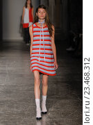 Купить «MILAN, ITALY - SEPTEMBER 28: A model walks the runway during the Arthur Arbesser fashion show as part of Milan Fashion Week Spring/Summer 2016 on September 28, 2015 in Milan, Italy.», фото № 23468312, снято 28 сентября 2015 г. (c) Anton Oparin / Фотобанк Лори