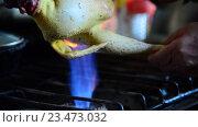 Купить «Опаливание куриной тушки над газовой конфоркой», видеоролик № 23473032, снято 20 августа 2016 г. (c) Володина Ольга / Фотобанк Лори