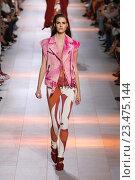 Купить «MILAN, ITALY - SEPTEMBER 26: A model walks the runway during the Roberto Cavalli fashion show as part of Milan Fashion Week Spring/Summer 2016 on September 26, 2015 in Milan, Italy.», фото № 23475144, снято 26 сентября 2015 г. (c) Anton Oparin / Фотобанк Лори