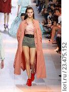 Купить «MILAN, ITALY - SEPTEMBER 26: A model walks the runway during the Roberto Cavalli fashion show as part of Milan Fashion Week Spring/Summer 2016 on September 26, 2015 in Milan, Italy.», фото № 23475152, снято 26 сентября 2015 г. (c) Anton Oparin / Фотобанк Лори