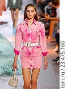 Купить «MILAN, ITALY - SEPTEMBER 26: A model walks the runway during the Roberto Cavalli fashion show as part of Milan Fashion Week Spring/Summer 2016 on September 26, 2015 in Milan, Italy.», фото № 23475160, снято 26 сентября 2015 г. (c) Anton Oparin / Фотобанк Лори