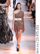 Купить «MILAN, ITALY - SEPTEMBER 26: A model walks the runway during the Roberto Cavalli fashion show as part of Milan Fashion Week Spring/Summer 2016 on September 26, 2015 in Milan, Italy.», фото № 23475252, снято 26 сентября 2015 г. (c) Anton Oparin / Фотобанк Лори